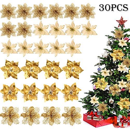 WILLBOND 30 Pieces Christmas Poinsettia Flower Decoration Artificial Christmas Flower for Christmas Tree Wreaths Wedding Ornaments, 5 Styles (Gold)