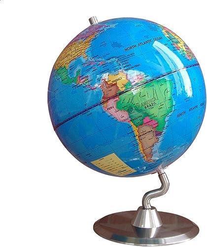 Globus Interaktive p gogische Swivel Desktop Globe Home Office Schreibtisch Dekorationen Geschenk Durchmesser 25cm Weltkarte-Lehr-Tool (Farbe   Blau, Größe   25cm)