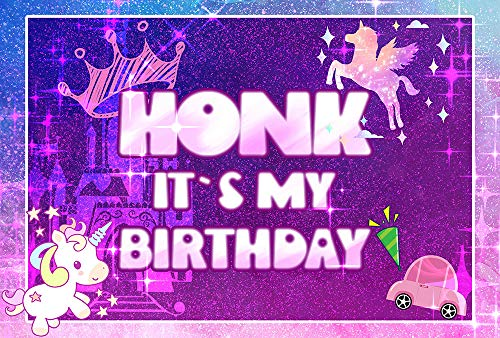 fengminyi HONK IT'S My Birthday Party Background - Unicorn Yard Sign Quarantine Banner 73''x48'' - Large Fabric Tapestry Flags Decorations for Girl Boy Kids Birthday Outdoor Indoor Decor