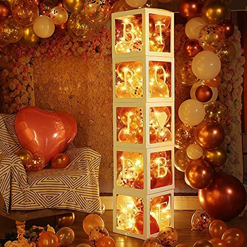 Scatole di Palloncini per Decorazioni per Addio al Nubilato, Blocco Trasparente in Oro Rosa con 5 Stringhe Luminose a LED, 48 Palloncini Fidanzamento Matrimoni Centrotavola Foto Booth