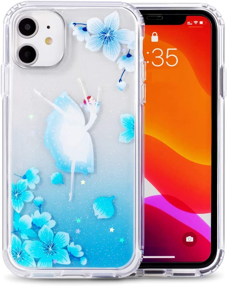 iPhone 11pro case Glitter Butterfly Flower for Woman Cellphone case (Dancing Girl-Blue Iphone11pro(5.8