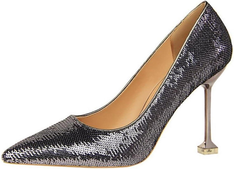 Gusha Sexy Sequins Shallow-Heeled high Heels Stilettos Pointed Toe high Heels