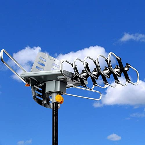 New HDTV Outdoor Amplified Antenna HD TV 36dB Rotate Remote 360° UHF/VHF/FM 150 Mile