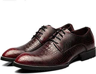 Men's Shoes-Men's Genuine Leather Shoes Crocodile Skin Texture Upper Lace Up Breathable Business Lined Oxfords Leisure (Color : Red, Size : 43 EU)