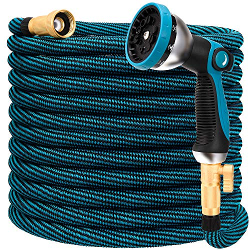 HIYUTOY Garden Hose Expandable Flexible Hose, Expanding Water Hose Kit Collapsible with 10 Function Spray Nozzle, Durable Stronge Hose Fabric-Multi Latex Core, No Kink Tangle (50FT, Blue)