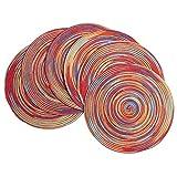 SHACOS 6 Pezzi Tovagliette Rotonde Rosso Set da 6 Tovagliette Lavabile Resistente al Calore Il Giro Stuoie per Tavolo da Cucina 38cm