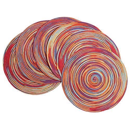 SHACOS 6er Set Baumwolle Tischset Rund Abwaschbar Verschleißfest Geflochtene Platzsets Rot Abwischbar,Ideal für Party,Dekor
