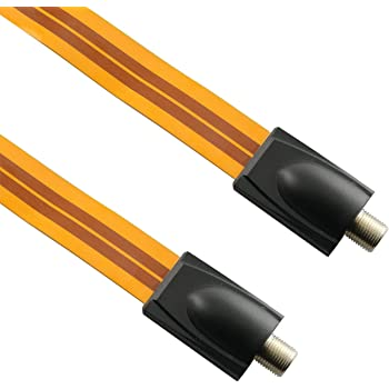 Ultra-thin Fancasee Flat Coaxial Cable Wire F Female to F Female Plug Jack Connector Adapter Coax Cable for Digital Audio Video TV Satellite RF Door Windows Outdoor Cable Wire Antenna Lead-in Indoor