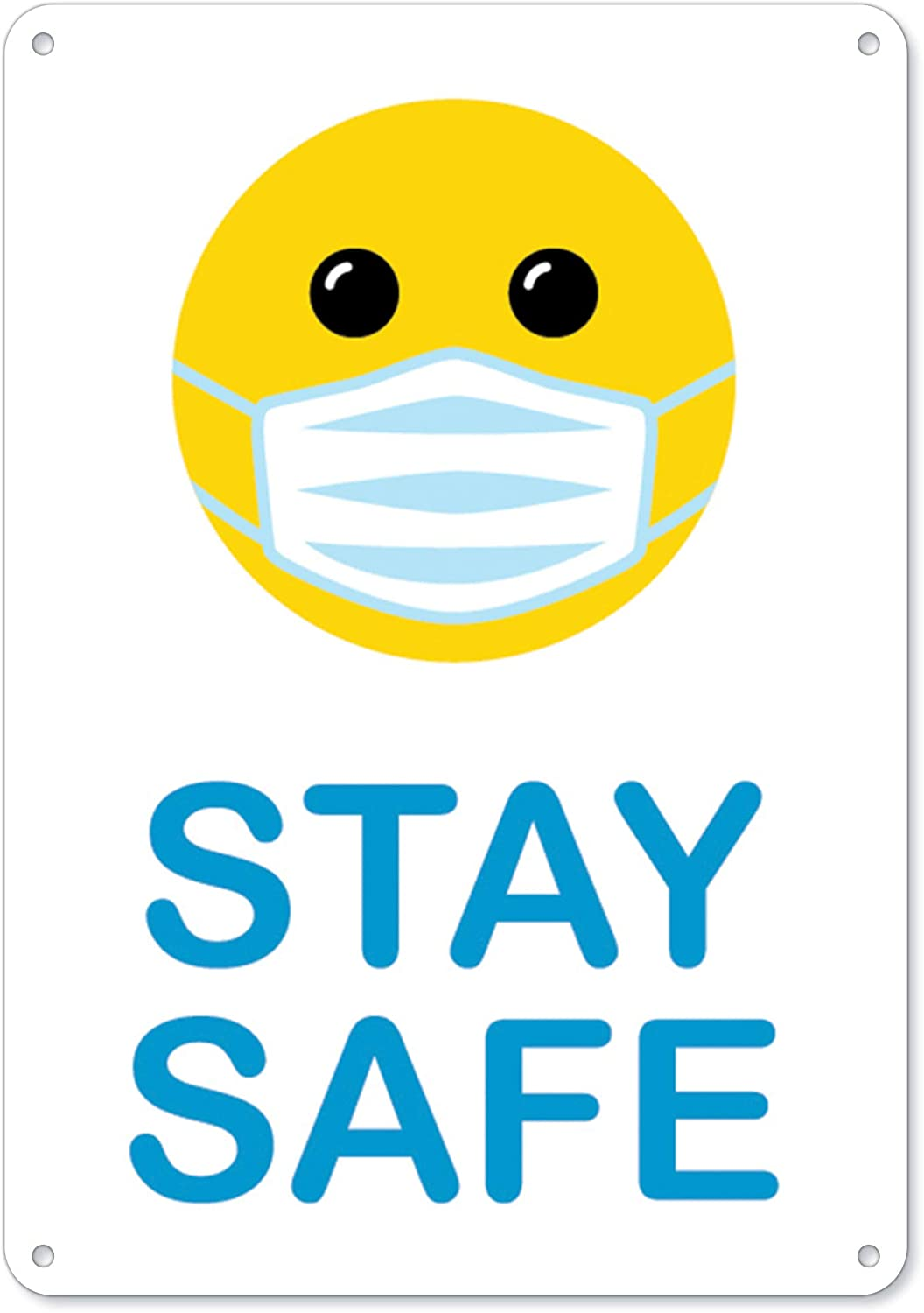 SignMission Public Safety Sign - Stay Smiley with Mask Face Safe OFFicial store Fees free!!