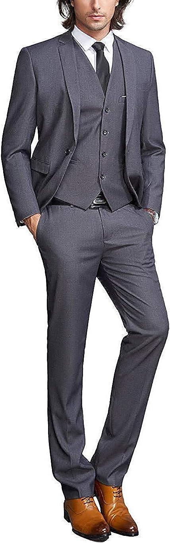 P&G Men's Suit NotchLapel Three Pieces One Button Tuxedo Jacket Pants Vest Set