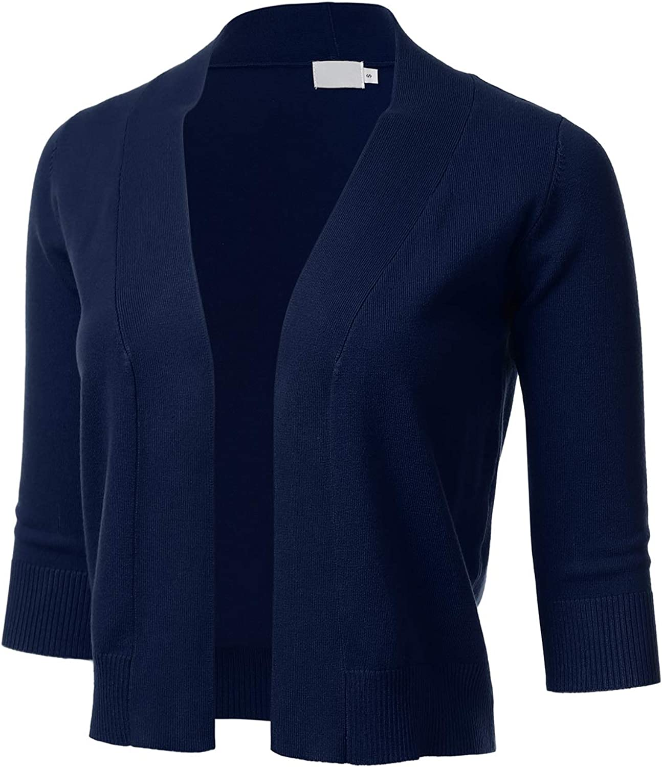 Women's Classic 3/4 Sleeve Open Front Cropped Cardigan Navy 1XL