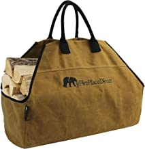 MyFirePlaceDirect Heavy Duty Waxed Canvas Log Carrier Tote Bag with Unique Embroidered Logo, Extra Large Durable Firewood Holder with Strong Comfort Handle, Heavy Duty Wood Carrying Bag