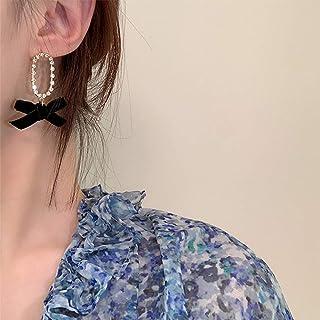 YERTTER Vintage Black Velvet Bow Earring Dangle Chain 925 Earrings Ear Studs Stylish Hoop Dangle Ear Stud Ear Jewelry for ...