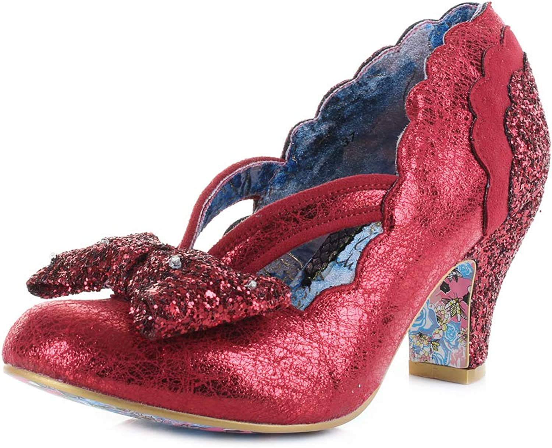 Irregular Choice Womens Twinkle Red Glitter Festive Flash Heel shoes Size