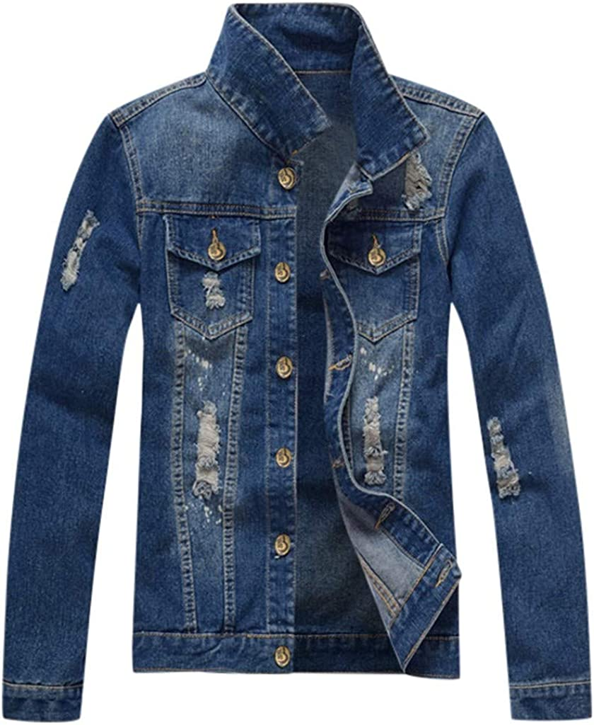 MODOQO Men's Denim Jacket Casual Lightweight Fashion Breathable Washed Jeans Outwear Coat
