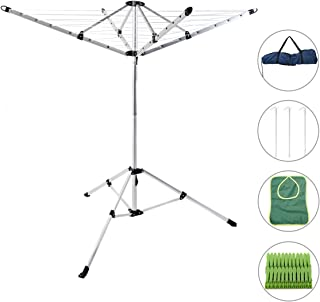 Drynatural Foldable Umbrella Drying Rack Clothes Dryer for Laundry 4 Arm 28 Lines Aluminum 65ft. for Indoor Outdoor