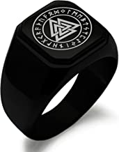 Stainless Steel Norse Valknut Knot Viking Symbol Square Flat Top Biker Style Polished Ring