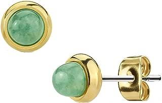 Pretty 10 mm Vert naturel jade perles rondes plaqué or Boucles d/'oreilles Clou