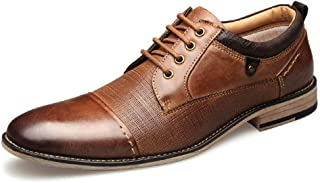JIANFEI LIANG Oxfords for Men Business Dress Shoes Lace up Burnished Style Wood-like Heel Vegan Genuine Leather Anti-slip (Color : Brown, Size : 49 EU)
