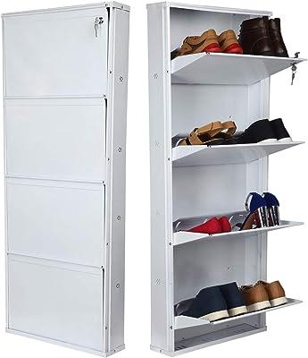 "Orril Powder Coated 21"" 4 Door Steel Shoe Rack - Full White (Make in India)"