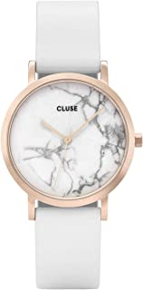 CLUSE La Roche Petite Rose Gold White Marble White CL40110 Women's Watch 33mm Leather Strap Minimalistic Design Casual Dress Japanese Quartz