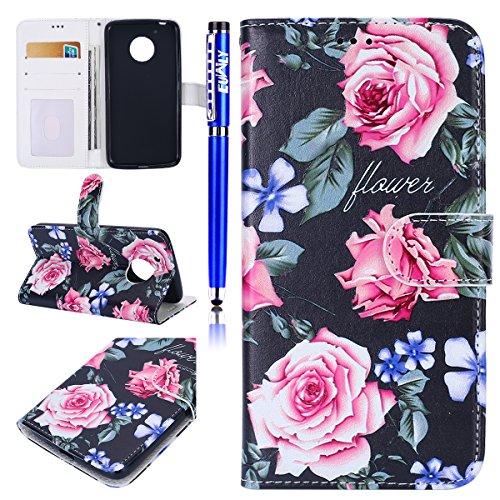 EUWLY Kompatibel mit Moto G5 Handyhülle Handy Schutzhülle Bunt Retro Muster Leder Wallet Tasche Flip Case Cover Handytasche Ledertasche mit Ständer Kartenfächer,Pink Rose Blumen