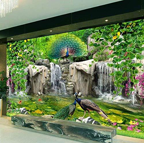 Fotobehang, vlies, 3D-muurschildering, fotobehang, 3D-muurbehang, bloemen, pauw 200*140 200*140