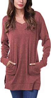 Womens Casual V-Neck Long Sleeves Side Split Sweater Tunic Tops