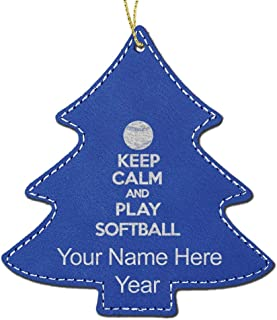LaserGram Faux Leather Christmas Ornament, Keep Calm and Play Softball, Personalized Engraving Included (Dark Blue, Tree)
