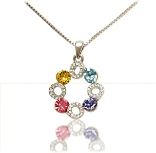 Women's Beautiful White Gold Plated Box Style Necklace with Multicolor European Crystals, Pave Pendant