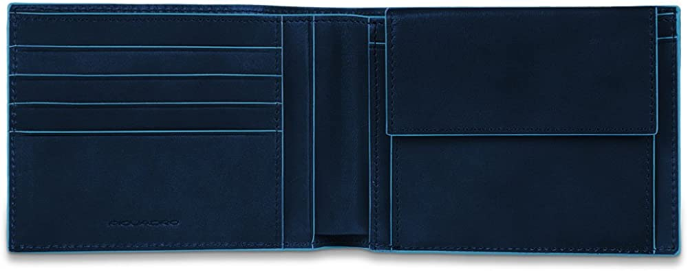 Piquadro blue square, portamonete, portafoglio per uomo, in pelle, blu PU257B2R/BLU2