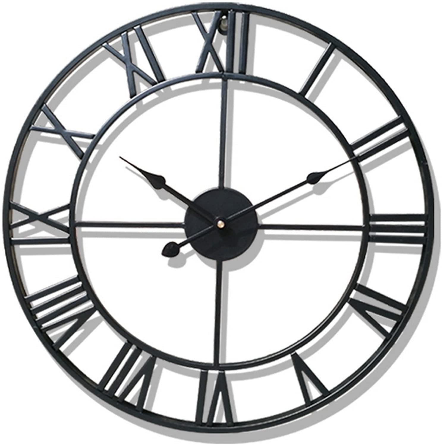 PeleusTech? Wall Clock, 20-inch Dia Large Iron Metal Vintage Retro Indoor Wall Clock with Roman Numerals - (Black)
