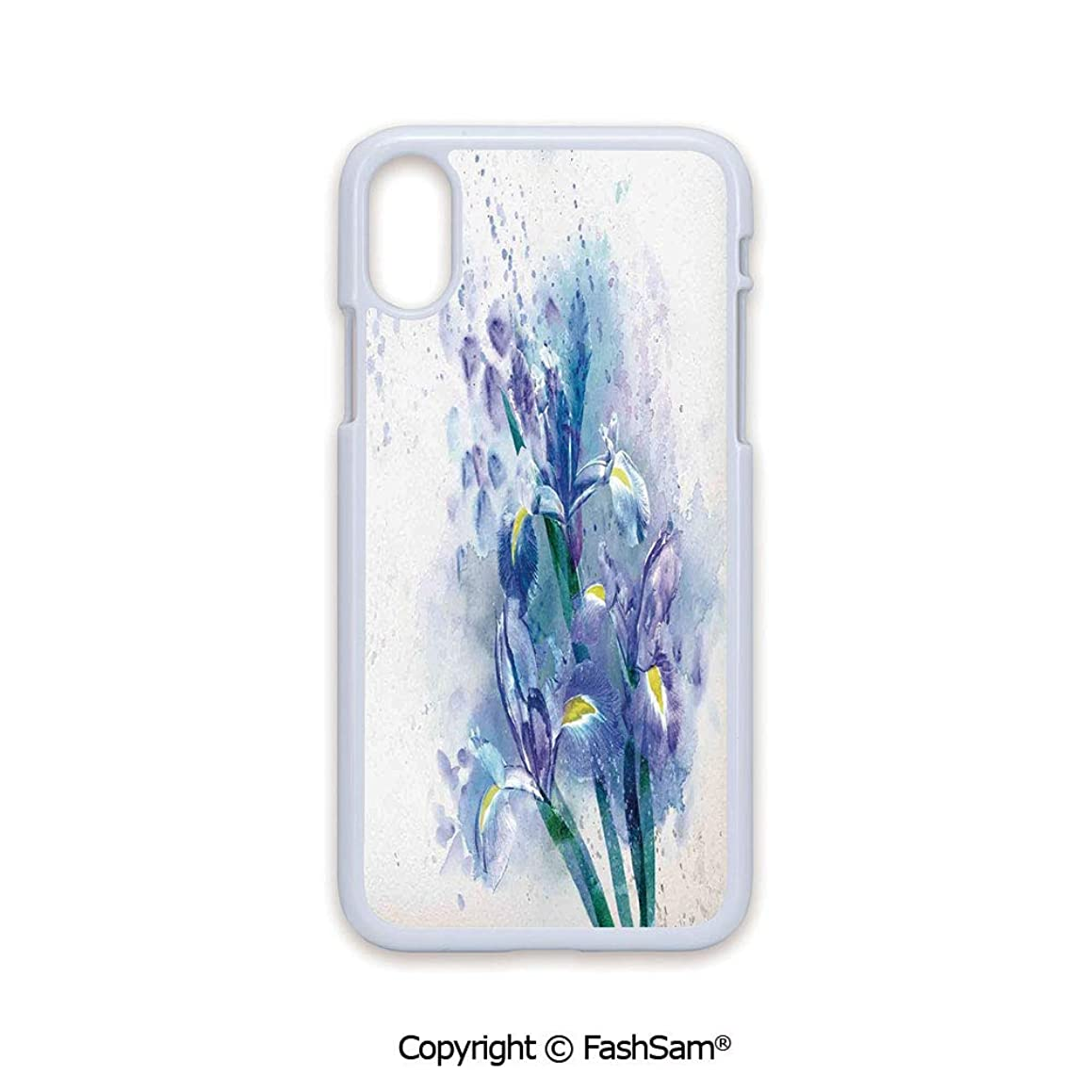 Plastic Rigid Mobile Phone case Compatible with iPhone X Black Edge Floral Background with Pretty Irises in Fresh Colors Nature Earth Spirit 2D Print Hard Plastic Phone Case