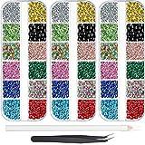 9000 piezas Hotfix Rhinestone 3 tamaños 12 colores Flatback redondo piedras preciosas de cristal de hierro en piedras de cristal con pinzas y 1 pluma de recogida para manicura y manualidades