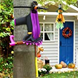 Crashing Witch into Tree Halloween Decoration Crashed Witch Props with 1pc Scarecrow Pumpkin Ghost Hanging Decoration for Patio Lawn Garden Holiday Party and Halloween Outdoor Tree Yard Decor
