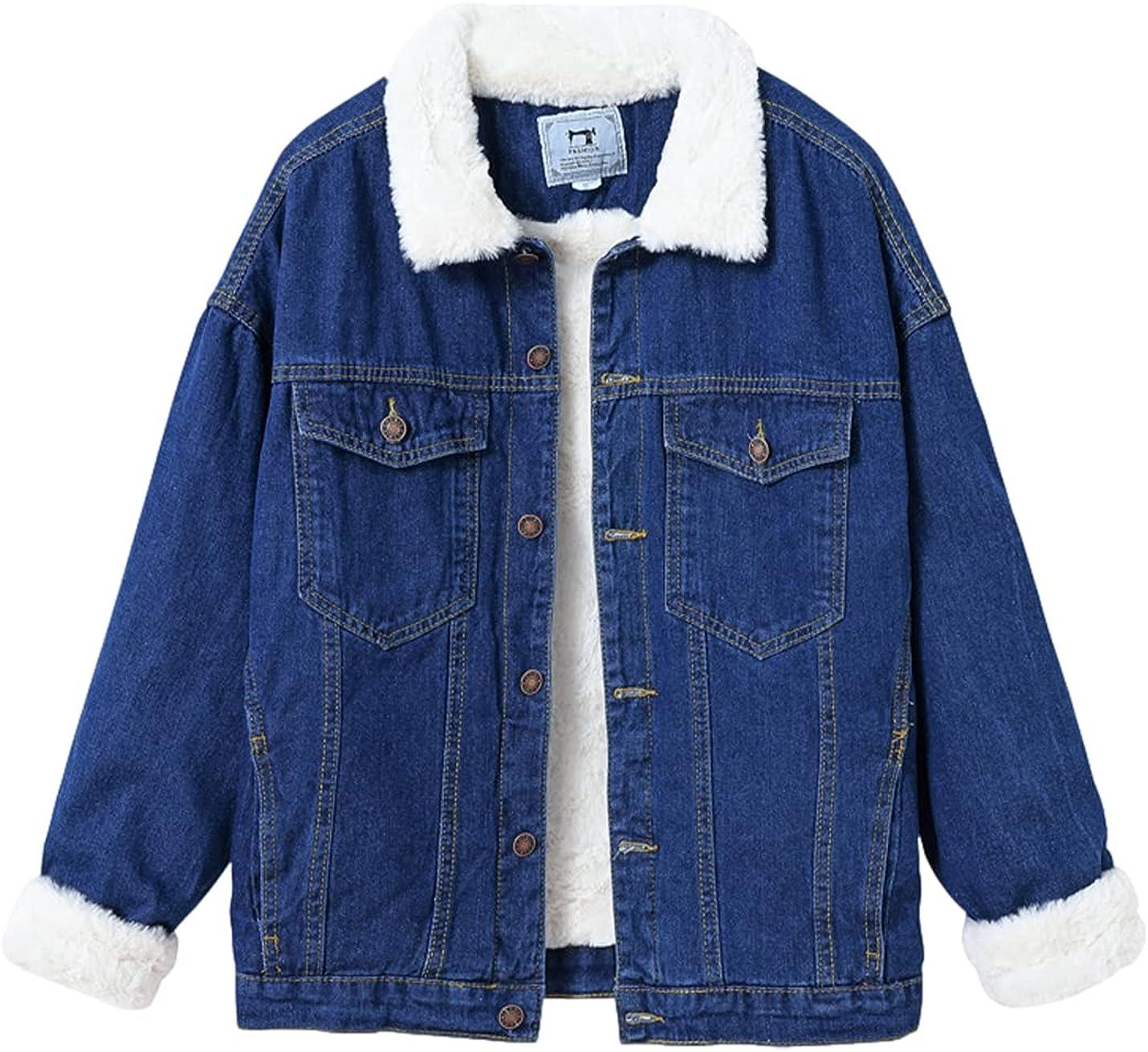 Xishiloft Women's Fleece Denim Jacket Lapel Long Sleeve Buttons Down Washed Retro Casual Rabbit Fur Denim Parka Coats