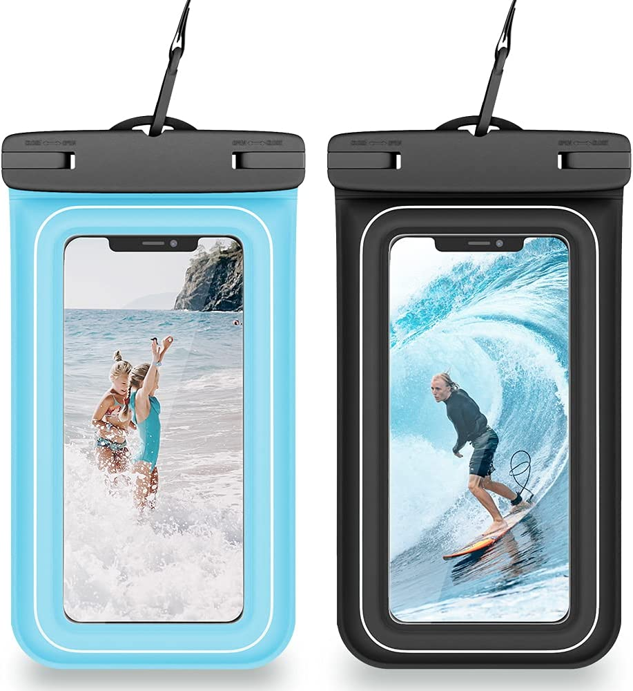 VEGO Floating Waterproof Phone Bag, [2 Pack] Universal Upgraded IPX8 Waterproof Cellphone Case Dry Bag with Lanyard for iPhone 12 Pro 11 Xs XR 8 7 Galaxy S21 S20 S10 Note 10 up to 7