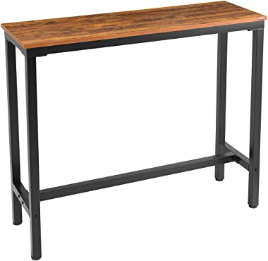 "Mr IRONSTONE Bar Table, 47"" Rectangular Kitchen Pub Dining Coffee Table High Writing Computer Table, For Narrow Space, Living Room, Dining Room-Sturdy Metal Frame, Easy Assembly, Industrial Brown"