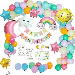 Korins Decoraciones Fiesta Cumpleaños Pastel, Feliz Cumpleaños Tema del Cielo con Pancarta de Happy Birthday, Dom Luna Nub...