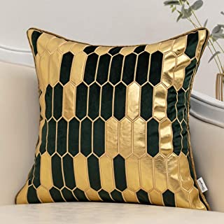 Yangest Teal and Gold Geometric Plaid Cushion Case Striped Velvet Square Throw Pillow Cover Modern Luxury Embroidery Pillo...