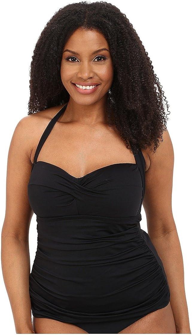 LAUREN RALPH LAUREN Women's Plus Size Beach Club Solid Shirred Twist Halterkini, Black, 18W
