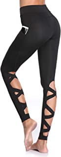 Workout Leggings for Women with Pockets Cutout Strappy Tights High Waist Capri Pants Running Gym Trousers