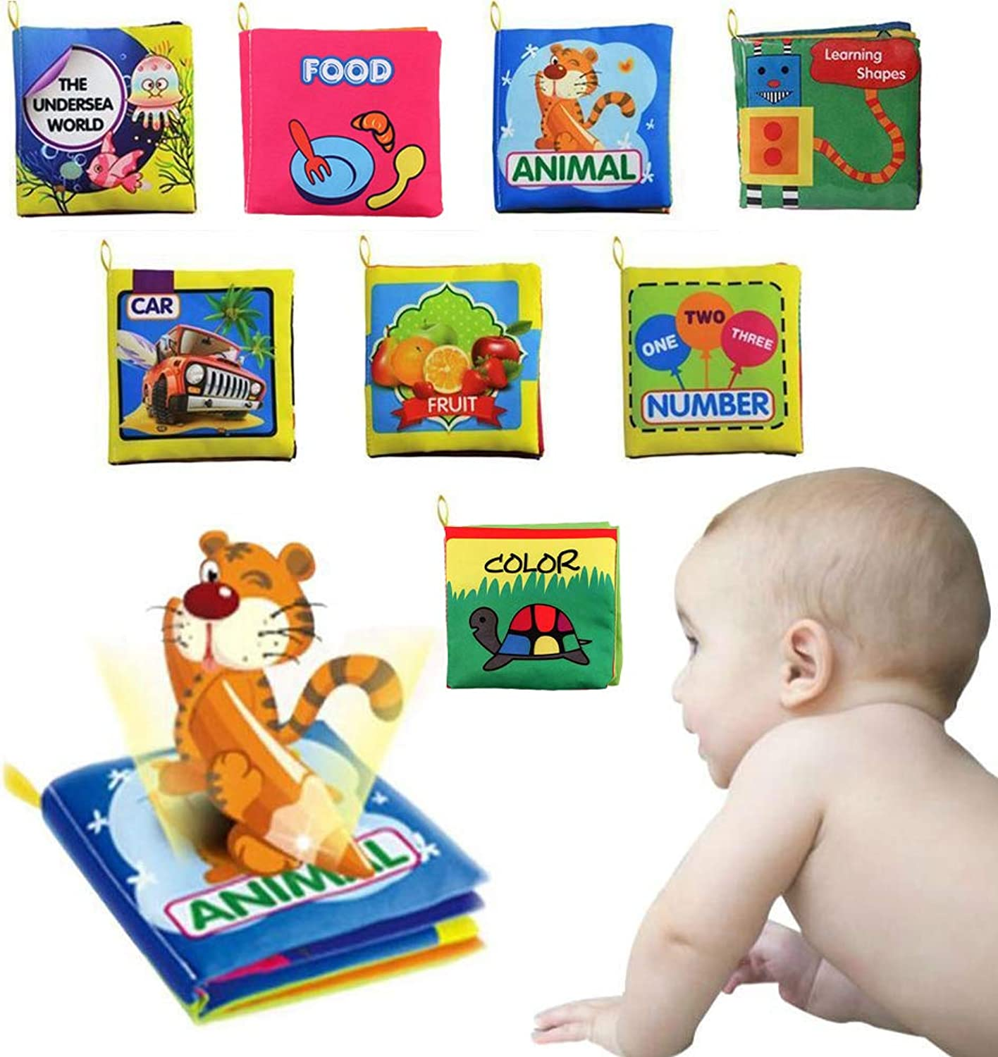 8 Pack Baby's Fabric Book Set,Non-Toxic Soft Cloth Book,Activity Book,My First Word Book,Early Education Toys for 6 to 12 Months Baby