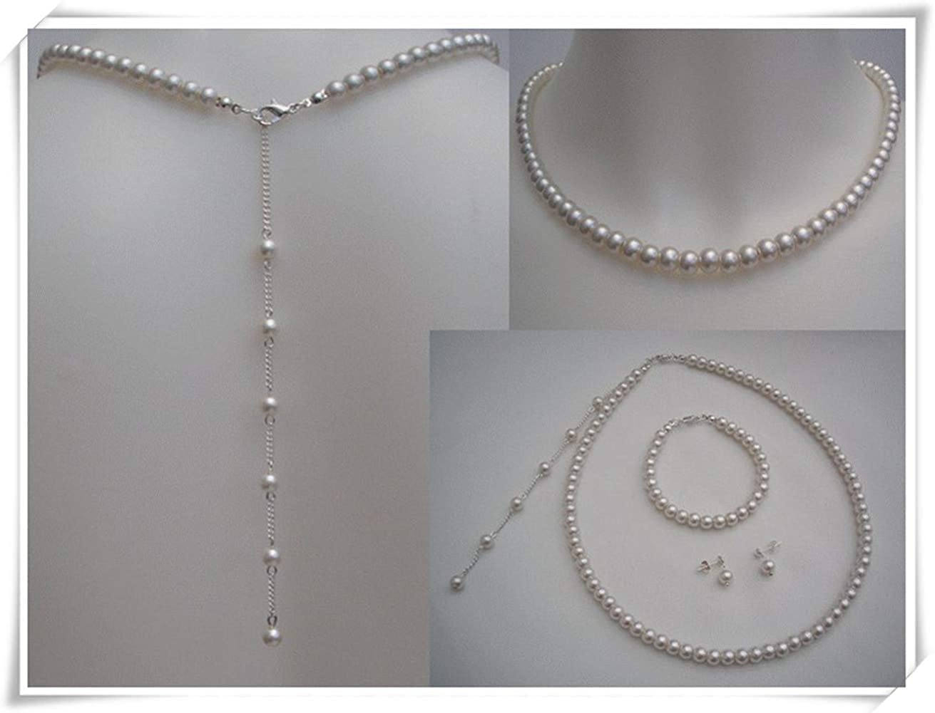 Backdrop Necklace Set, Ivory Pearl with a Bracelet Earrings, Backdrop Necklace Set, Wedding Jewelry.