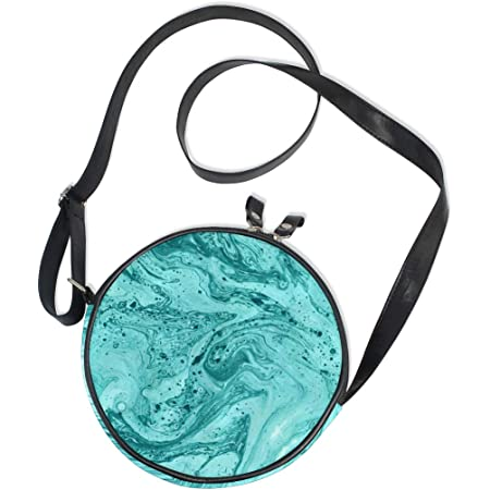 Upcycled Bag Shoulder Bag Blue Green Turquoise Round Bag