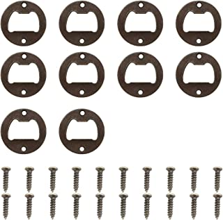 Bottle opener Round Beer Cap Lifter Wall Mounted Bronze Finished Inset Kit Hardware Parts DIY kit with Screws 10 Pcs