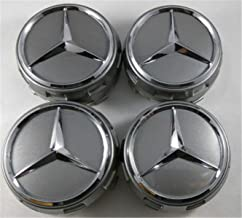 GANGJIANLAN New Set of 4 Raised Center Wheel Caps for Mercedes Benz AMG Wheels 75mm (Grey Silver)