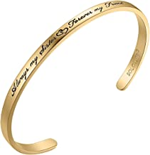 Solocute Bracelets for Women Inspirational Gifts for Her Sister to Sister Jewelry, Always My Sister Forever My Friend, Engraved Mantra Band Cuff Bangle