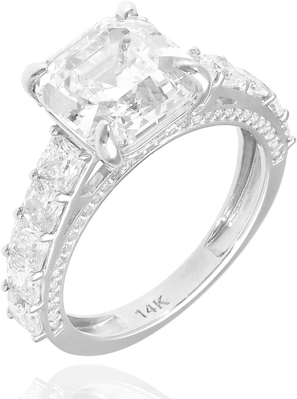 6.5CT. TW Asscher Round Cut Created Diamond Engagement Ring 14K White Gold