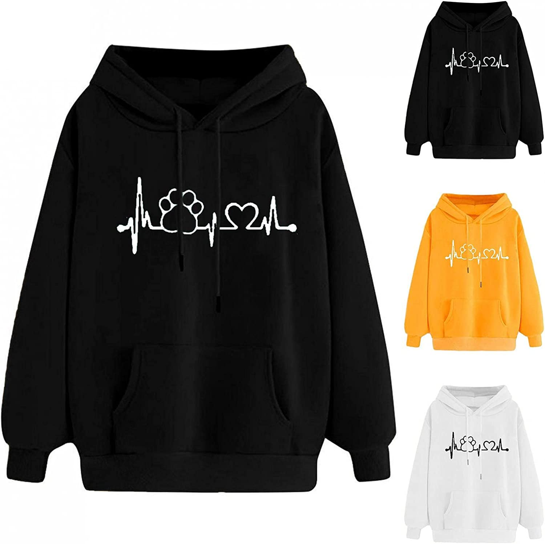 Jaqqra Hoodies for Women Pullover Long Sleeve Plain Printed Loose Hooded Sweatshirts Teen Girls Casual Loose Tops Shirts
